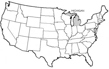 Michigan State Name Origin - State of state of michigan on a us map