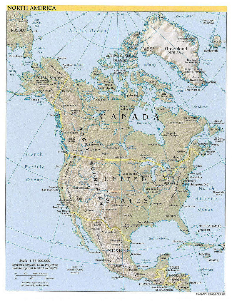 map of north american continent