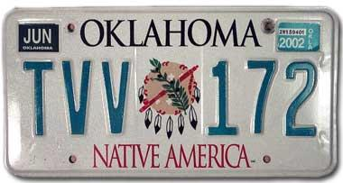 Green and white Oklahoma license plate