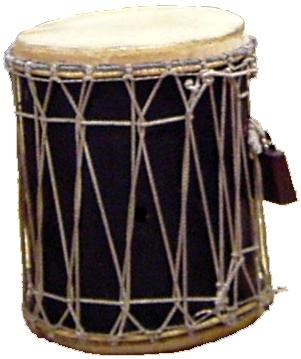 Bass drum made from wood, rope, and cowskin