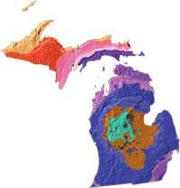 Michigan geology and topography map