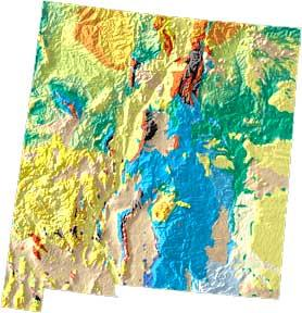 New Mexico geology and topography map