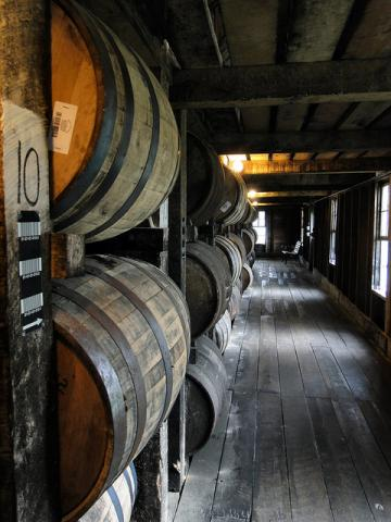 Aging bourbon in Bardstown, Kentucky