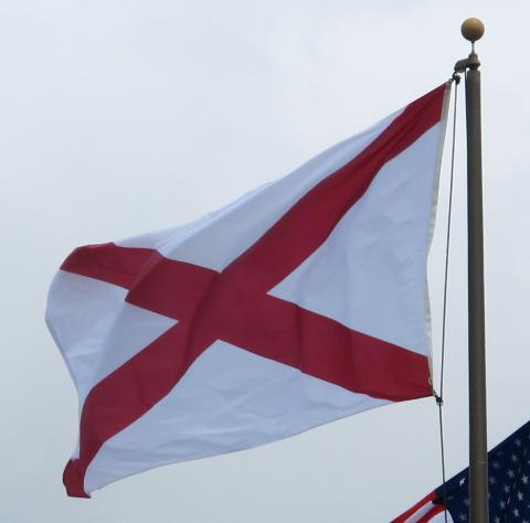 Flag of Alabama waving