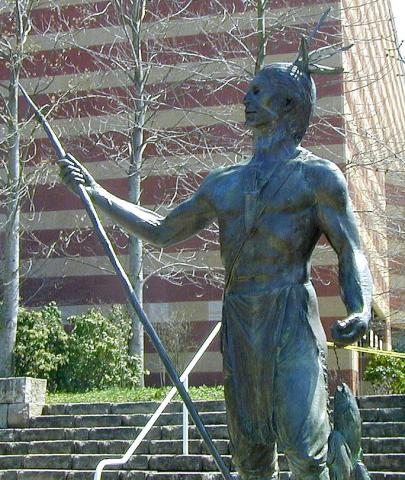 Statue of a Cherokee Indian in Chattanooga, Tennessee