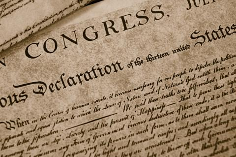 United States Declaration of Independence signed July 4, 1776