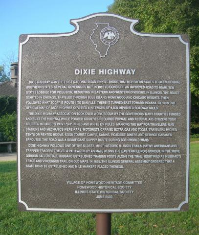 Dixie Highway Historic Marker in Homewood, Illinois