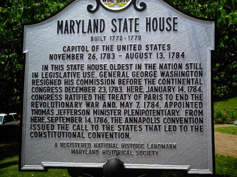 Maryland State House Historic Marker