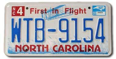 Blue and red North Carolina license plate
