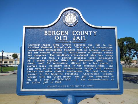 Old Bergen County Jail historic marker, Hackensack, New Jersey
