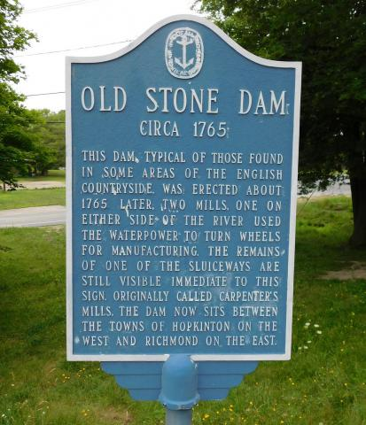 Old Stone Dam historic marker
