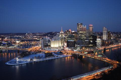Pittsburgh skyline showing 3 rivers and Point Park