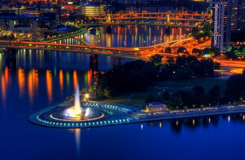 Point State Park at night, Pittsburgh, Pennsylvania
