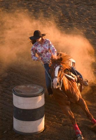 Barrel racer in a South Dakota rodeo