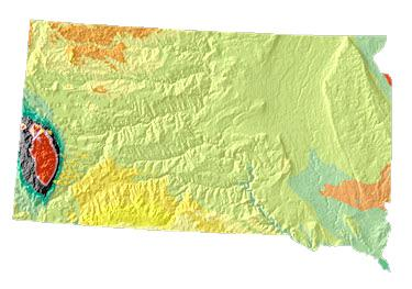 South Dakota geology and topography map