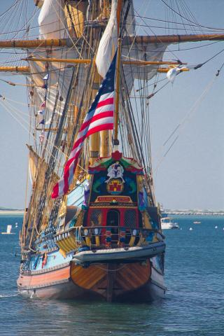 Tall ship Kalmar Nyckel leaving Provincetown harbor.