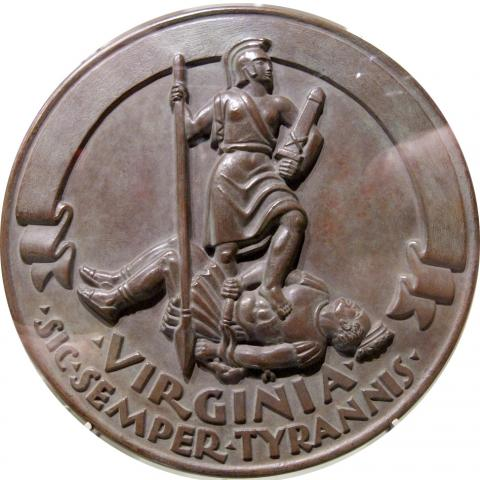 Bronze rendering of Virginia's state seal
