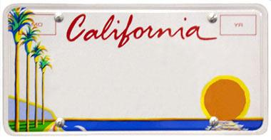 Blue and gold California license plate.