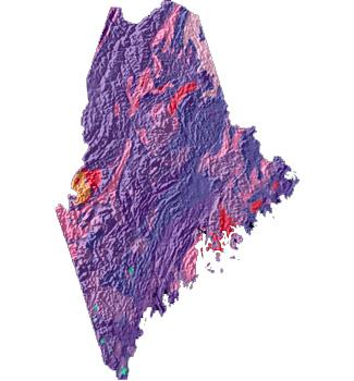 Maine geology and topography map