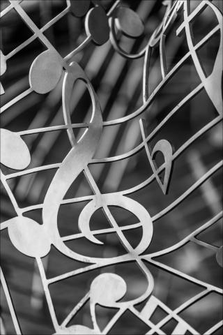 Abstract representation of music notes and signature