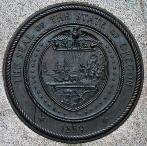 Representation of Oregon's state seal in Portland, Oregon