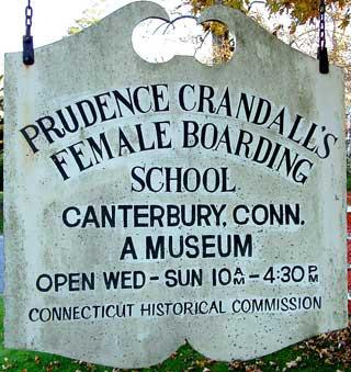 Sign at Prudence Crandall's female boarding school in Canterbury, CT