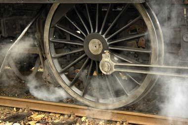 Wheels of a steam engine