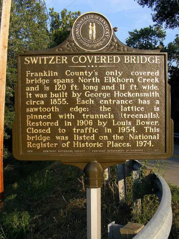 Switzer Covered Bridge Historic Marker