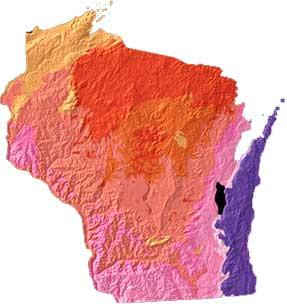 Wisconsin geology and topography map