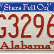 Alabama Licence Plate: Stars Fell on Alabama