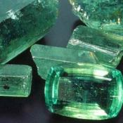 Cut and rough emeralds