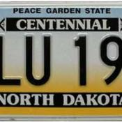 North Dakota license plate with state nickname (Peace Garden State)