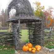 Witch hat arbor and pumpkins in New Hampshire