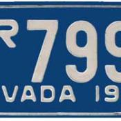 Silver and blue Nevada license plate
