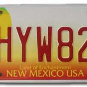 Red and yellow New Mexico license plate featuring hot air balloon