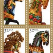 Carousel horses on U.S. postage stamps