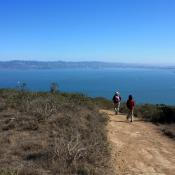 Hikers on Angel Island, California (Marin County)