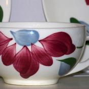 Blue Ridge pottery: hand-painted porcelain cup