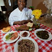 Chef Hardette Harris with dishes from the North Louisiana state meal