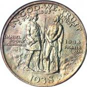 Daniel Boone with Pennsylvania long rifle on half-dollar coin
