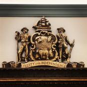 Delaware coat of arms; located in the Delaware Legislative Hall