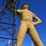 The Golden Driller monument in Tulsa, Oklahoma