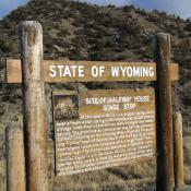Historic marker at the site of Halfway House Stage Stop in Wyoming