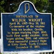 Historic marker in Henry, Indiana noting the birthplace of Wilbur Wright