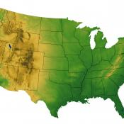 Terrain map of USA