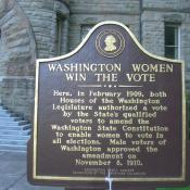Washington Women Win the Vote - historic marker in Olympia, Washington