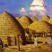Grass houses of native American caddo village