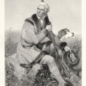 Engraving of elderly Daniel Boone with long rifle