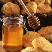 Honey dripping on biscuits
