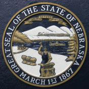 Engraving of Nebraska seal on historic marker